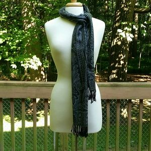 Gray and Black Paisley Scarf with Fringe